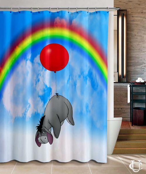 Disney Winnie The Pooh Eeyore On Sky Rainbow Shower Curtain