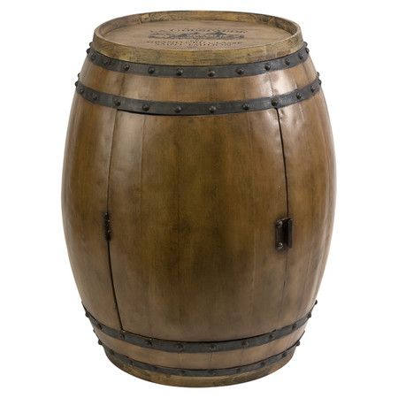 Fir Wood And Wrought Iron Barrel Shaped End Table. Product: End  TableConstruction Material