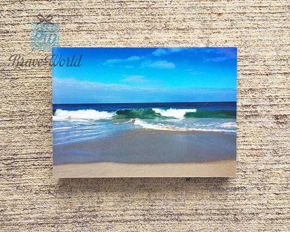 Waves Crashing Photograph Print On Wood Block Beach Photography