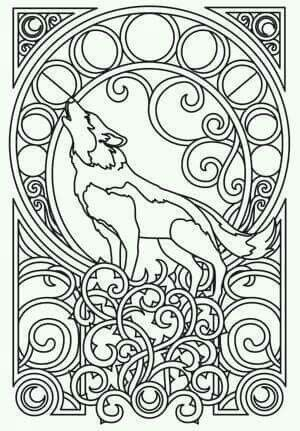 Celtic Wolf Phases Of The Moon Inside Coloring Pages Adult