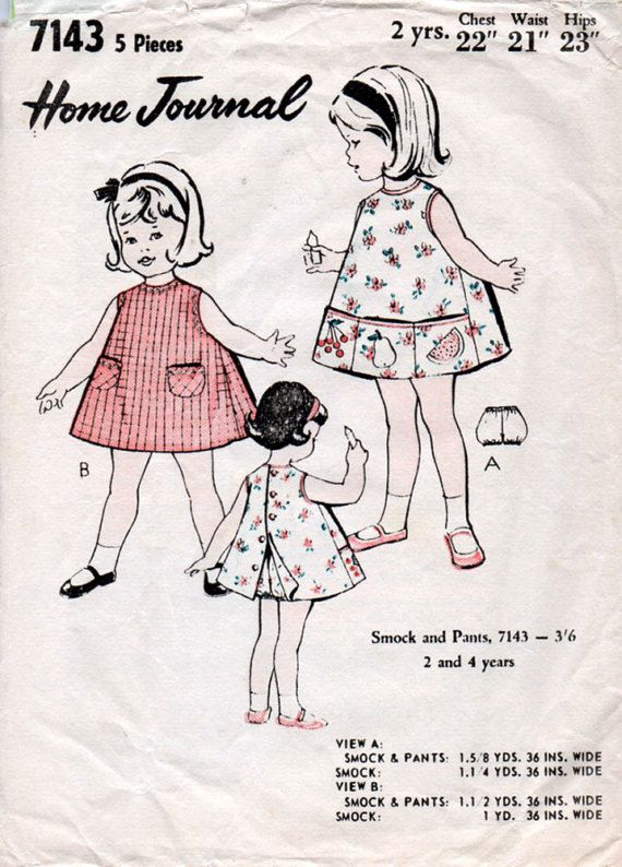 1960s Toddler\'s Smock Dress & Pants Pattern by BessieAndMaive ...
