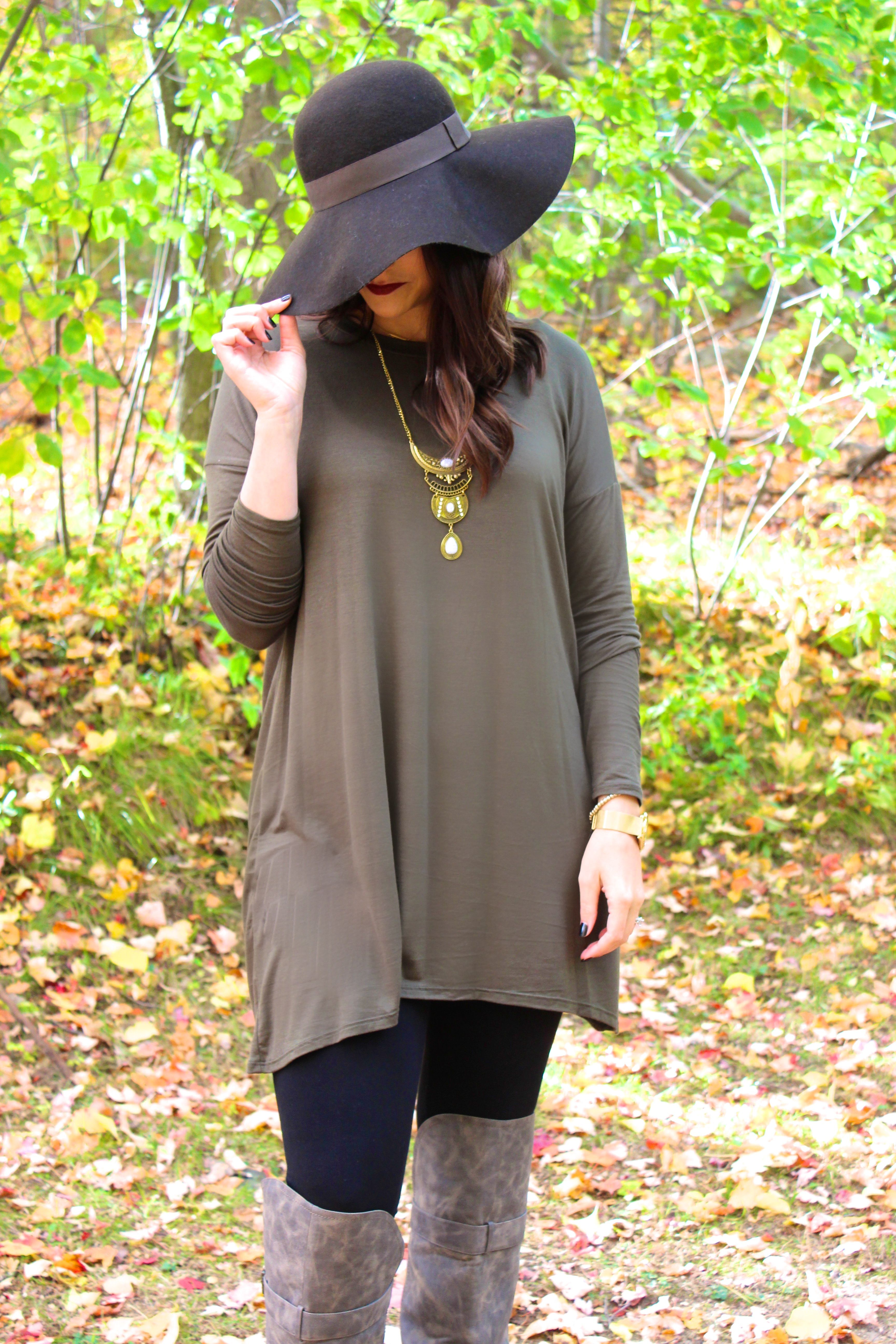 Olive Long Sleeve Loose Fitted Tunic