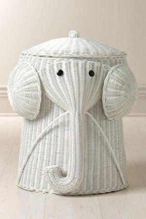 Rattan Elephant Hamper 22 Hx14 D White Home Kitchen