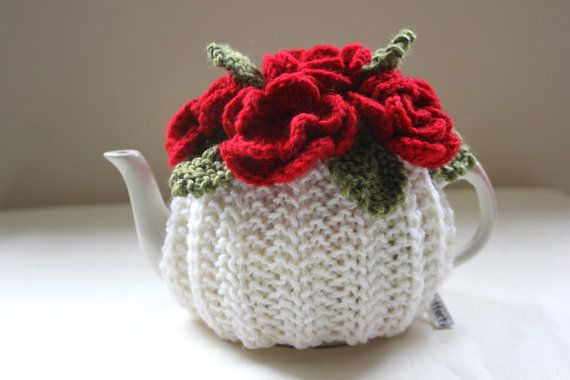 Blood Red Roses Flower Garden Tea Cosy in Pure Wool - Ivory Cream Base by Tafferty Designs size MEDIUM