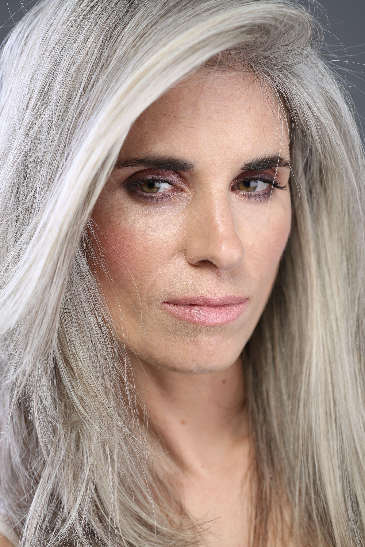 silver hair - brown eyes