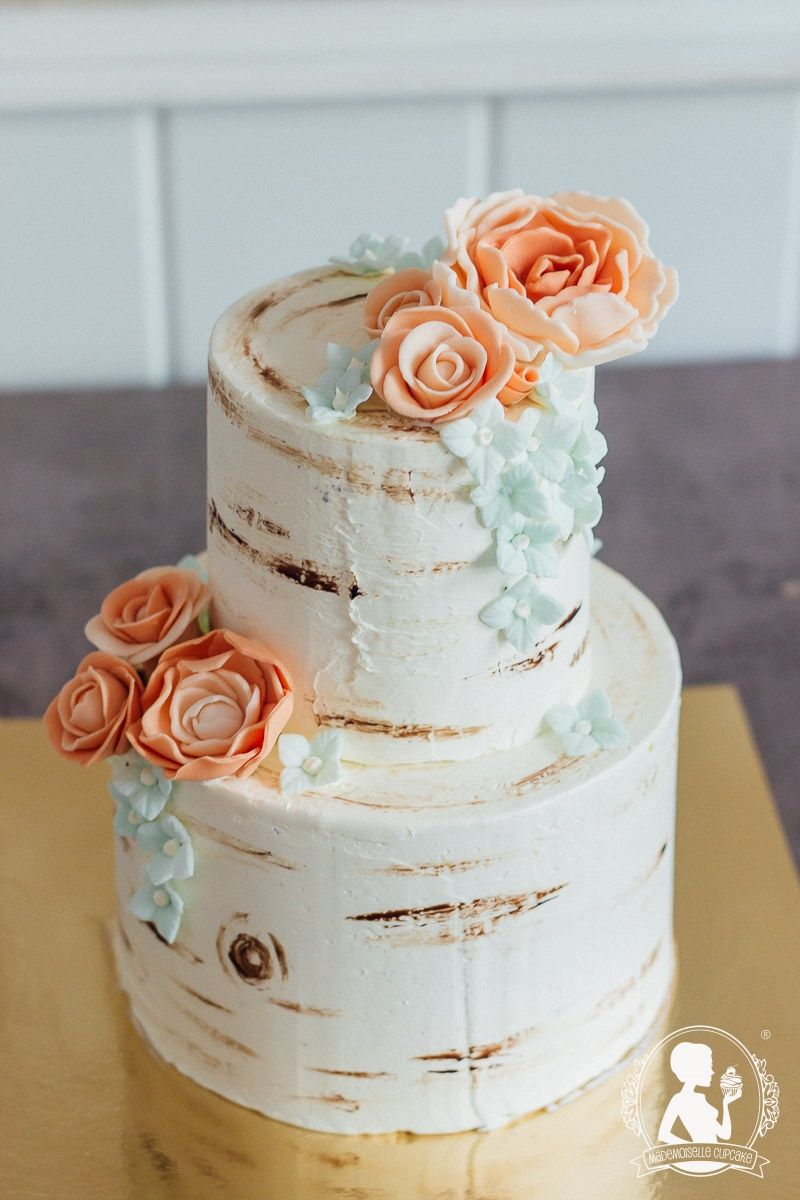 Naked Wedding Cake Vintage Tree Apricot Roses Mint Hydrangeas