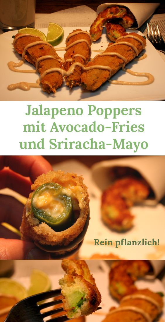 Jalapeno Poppers mit Avocado-Fries und Sriracha-Mayo - vegan!