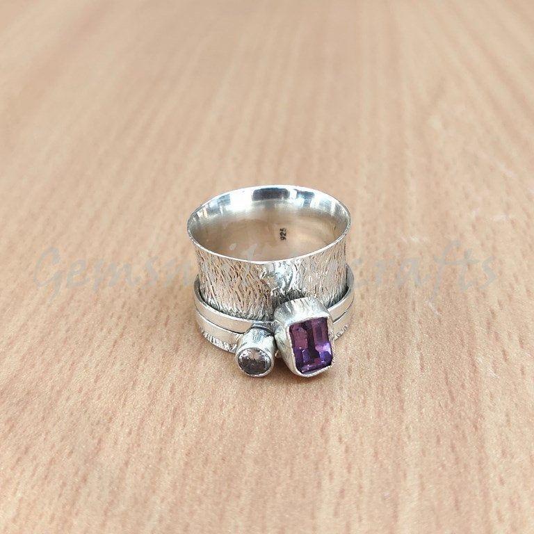 Mediation Ring Amethyst Ring,Spinner Ring,925 Sterling Silver Ring,Handmade Ring,Women Ring,Anxiety Ring,Amethyst Spinner Ring,Gift For Her