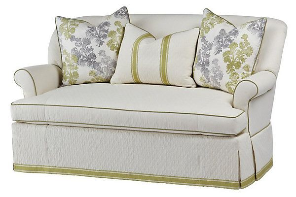 """Michelle 70"""" Cotton Sofa, Cream/Olive   Love the Look   One Kings Lane"""