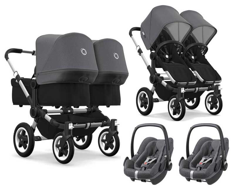 bugaboo donkey 2 twin zwillingskinderwagen 3 in 1 mit maxi. Black Bedroom Furniture Sets. Home Design Ideas