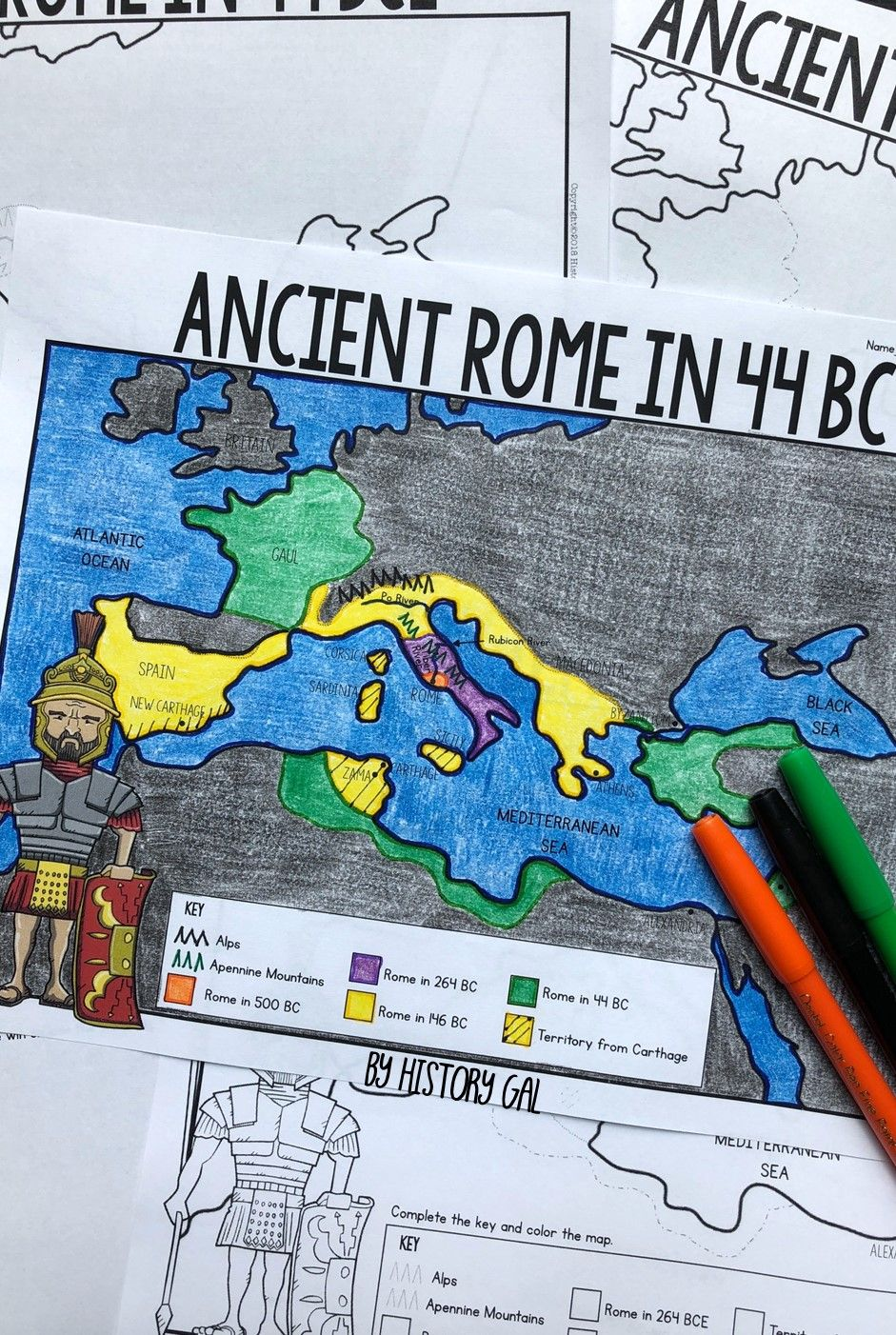 Ancient Rome to 44 BCE Map Activity (Print and Digital)   Map activities [ 1402 x 941 Pixel ]