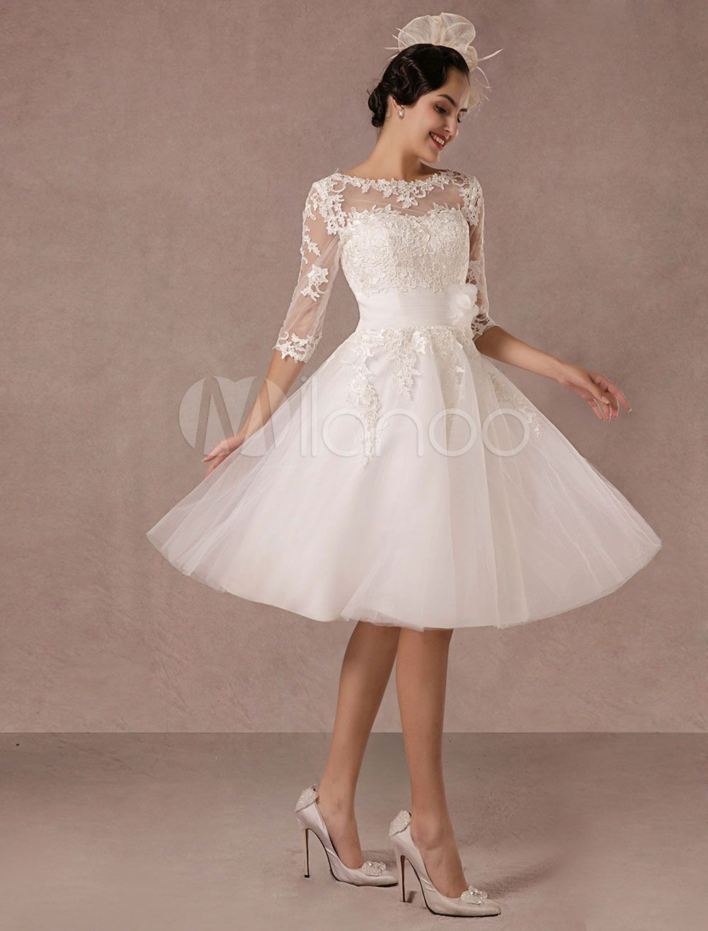 Short Wedding Dress Vintage Lace Applique Long Sleeves Tea length A ...