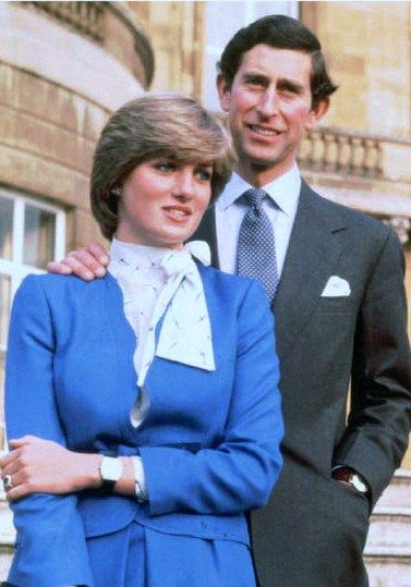 Prince Charles and the then Lady Diana Spencer pose for photographers after announcing their engagement in 1981.