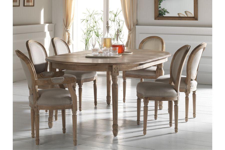 Chaise m daillon en bois massif et assise en tissu lin - Conforama table et chaise salle a manger ...