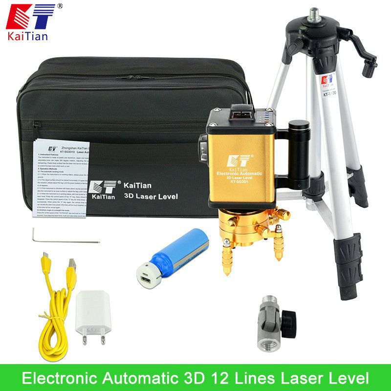 Kaitian Green Laser Level With 360 Rotary Tilt Function Outdoor Electronic Automatic Eu 12 Lines 3d Vertical Horizontal Lasers Laser Levels Green Laser Laser