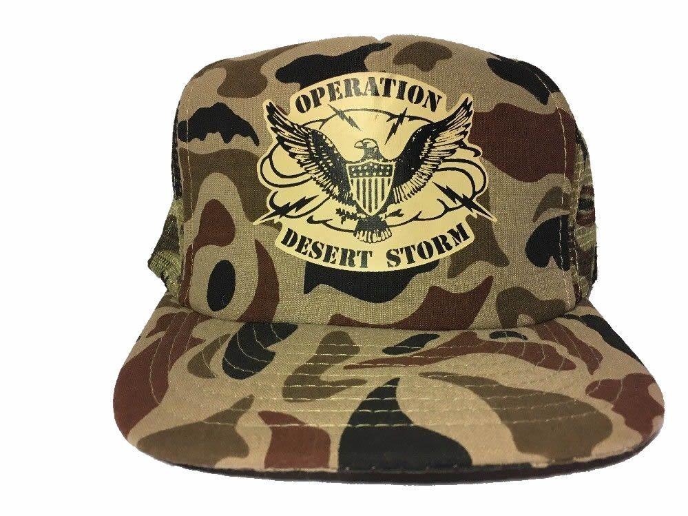 b8577f6ce89 Vintage Snapback Trucker Hat Operation Desert Storm Camo