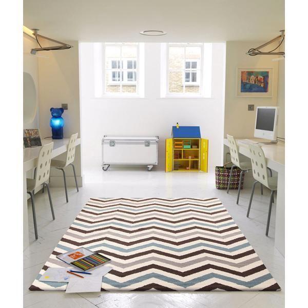 NEW Rug Flat Weave Chevron Design Blue Brown 225x155cm Carpet Tiles Rug