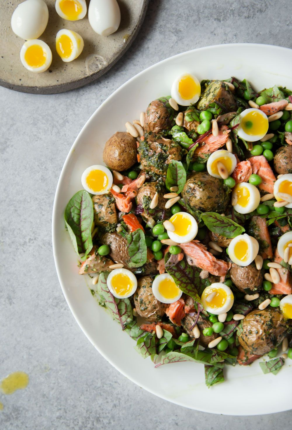 Spring Potato Salad With Quail Eggs And Sorrel Wild Greens Sardines