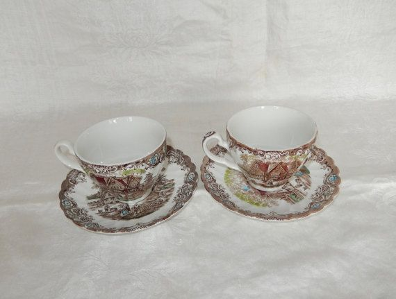 Johnson Brothers Heritage Hall Colonial Overhang Cup and Saucer Set s