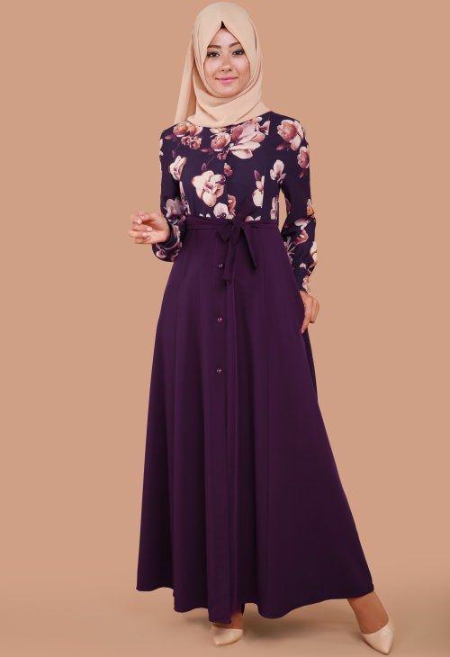 d930fab199c13 Modaselvim Çiçekli Tesettür Elbise Modelleri Türban Kıyafetler, Sade  Kıyafetler, Mütevazı Kıyafetler, Mavi Nedimeler