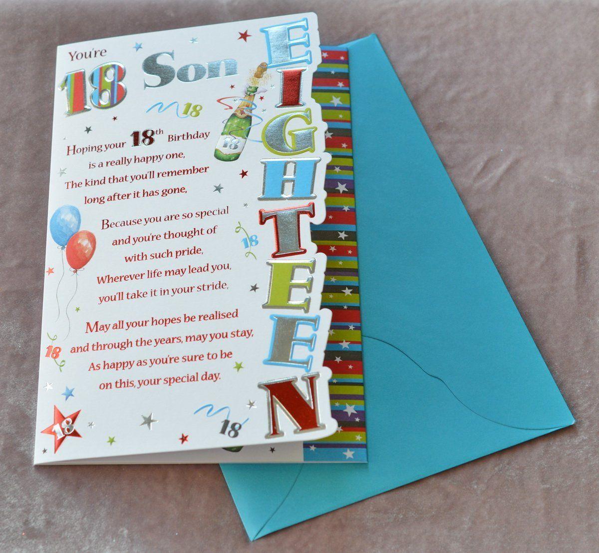 Son 18th Birthday Card Amazon.co.uk Kitchen & Home