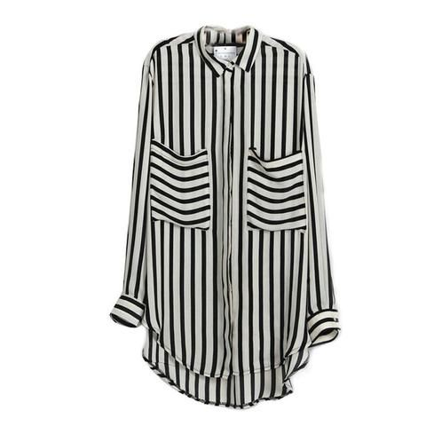 1bc2348617f0db Women Blouse Long Sleeve Vertical Striped Chiffon Tops Button Down Shirt