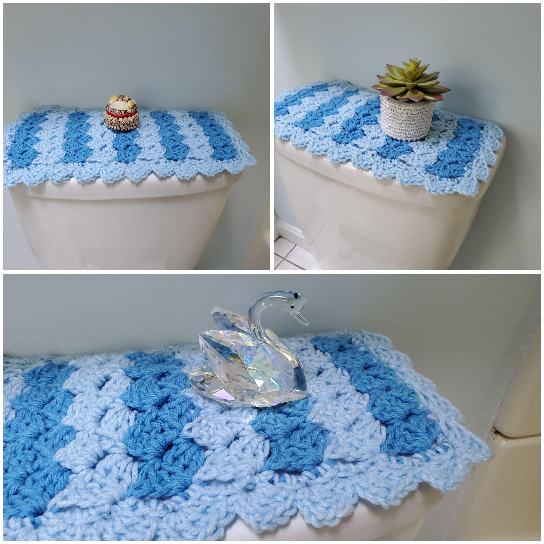 Toilet Tank Topper Crochet Toilet Tank Topper Bathroom Decor Light Blue Hot Blue Ttt2c Crafts To Make And Sell Handmade Crocheted Item