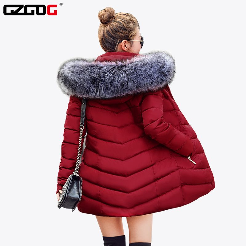 New 2017 Winter Jacket Women Coats Artificial Raccoon Hair Collar Female Parka Black Thick Cotton Padded Linin Coats For Women Jackets For Women Winter Jackets