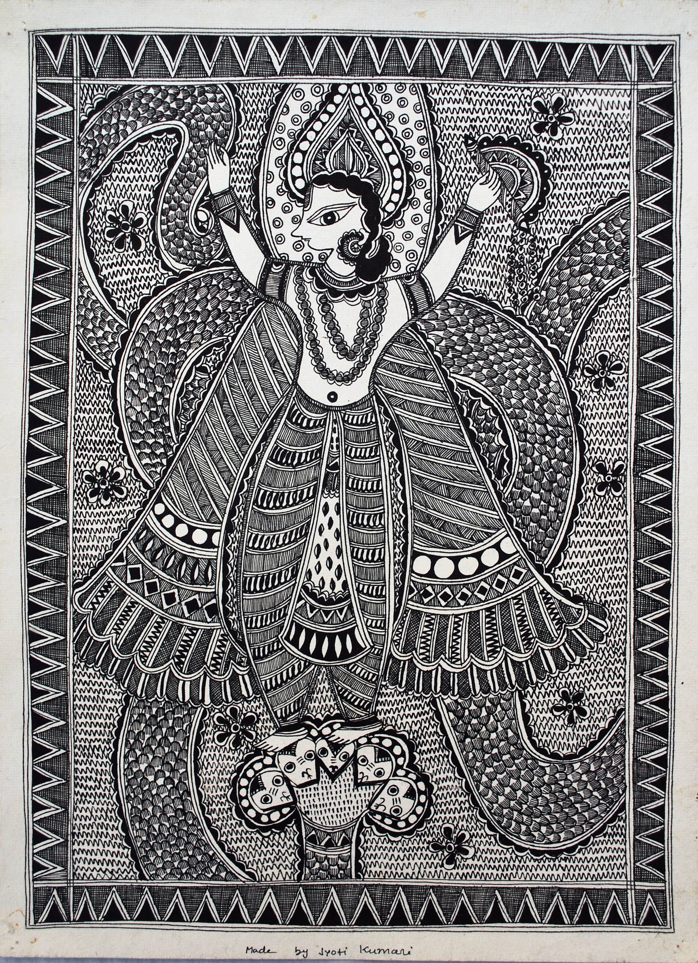 Line Art Painting : Line painting madhubani india art