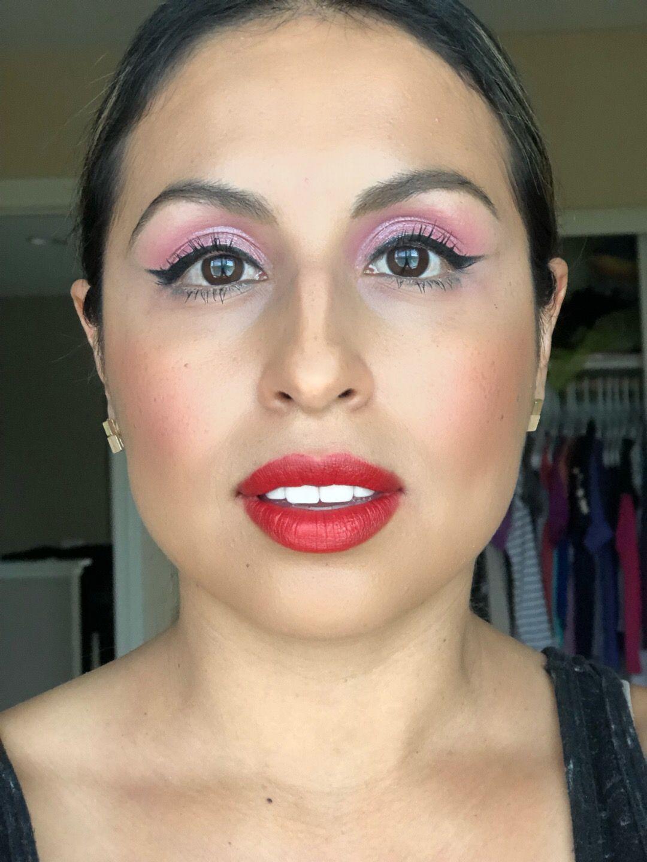 Pink Eyes Red Lips Pinkeyeshadow Redlips Makeup Motd