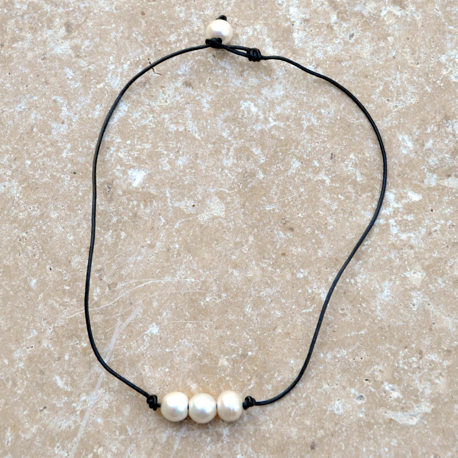 b897d90fa82ac 3 Pearl Necklace/Knotted Leather and Freshwater Pearl Choker/Leather ...