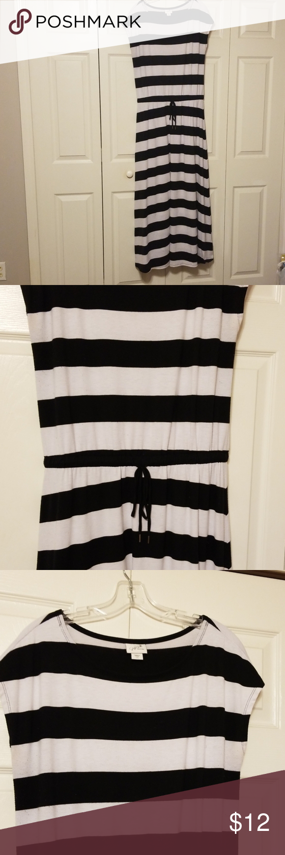 Striped Floor Length Cotton Dress Because It Is Floor Length It Has Some Marks On The End Of The Dress But So Comf Floor Length Cotton Dresses Length Cotton