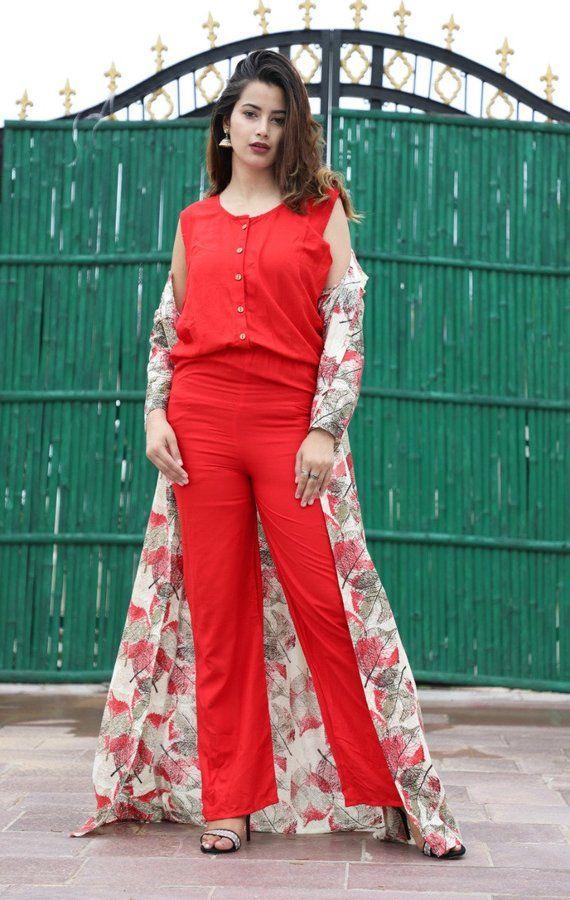 3d035c751e Women's & Girl's Clothing Jumpsuit Kurti with Shrug , Crop Top,Palazzo  Pants Long Maxi Dress Rayon F
