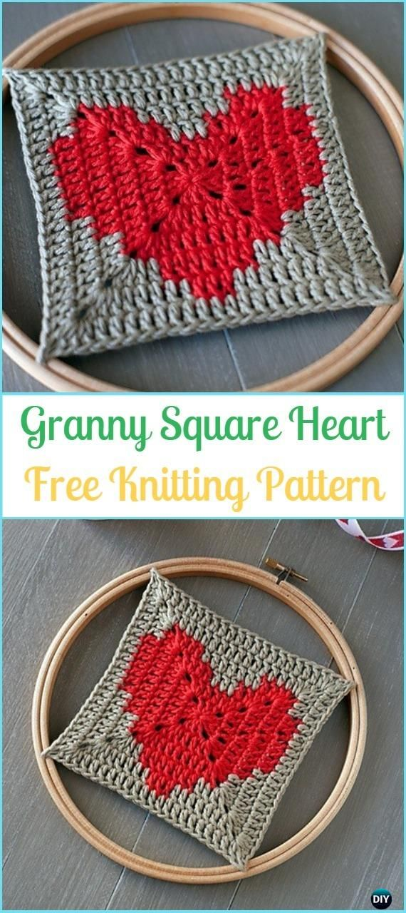 Crochet Granny Square Heart Free Pattern Crochet Heart Square Free