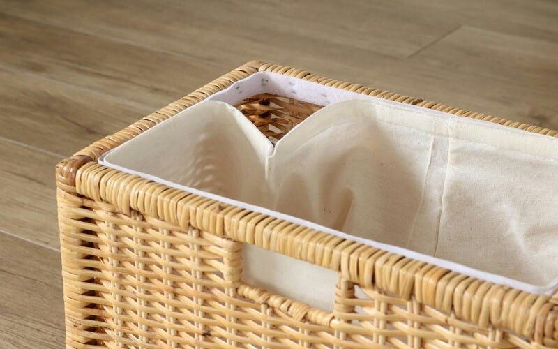 Rattan Laundry Basket With Lining Prilaga Hotel