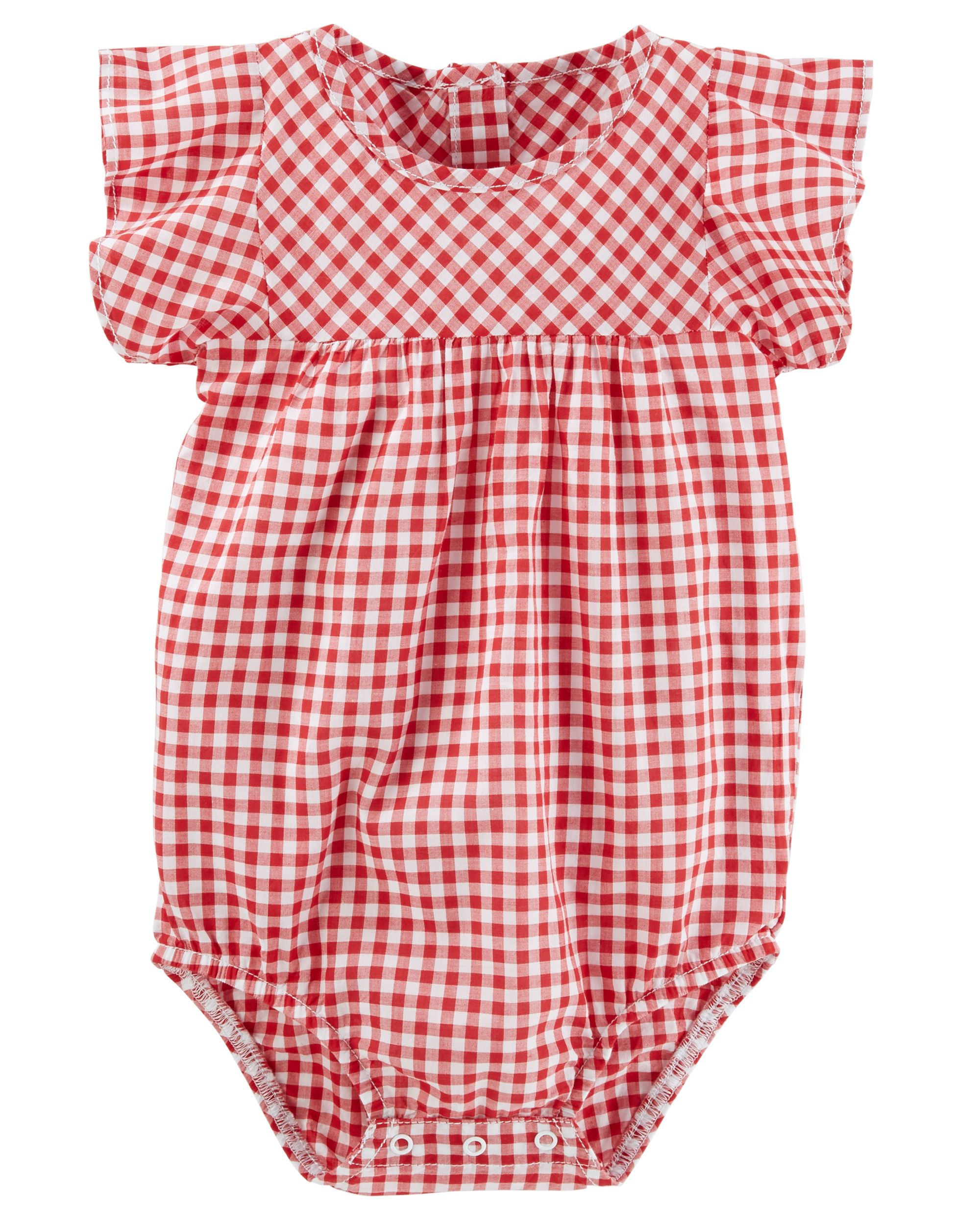 Ruffle Sleeve Gingham Bodysuit