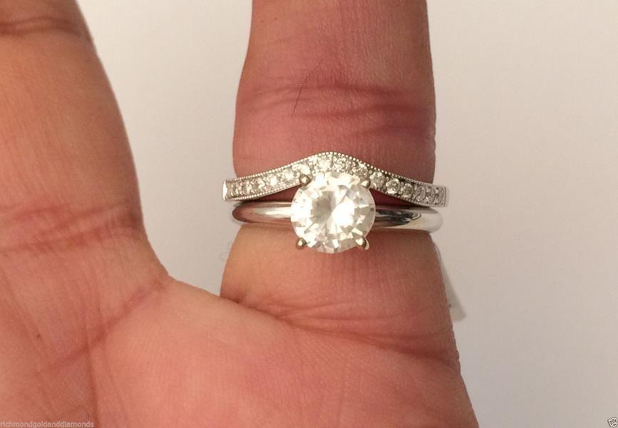 14k White Gold Diamond Solitaire Wrap Ring Solitaire Enhancer