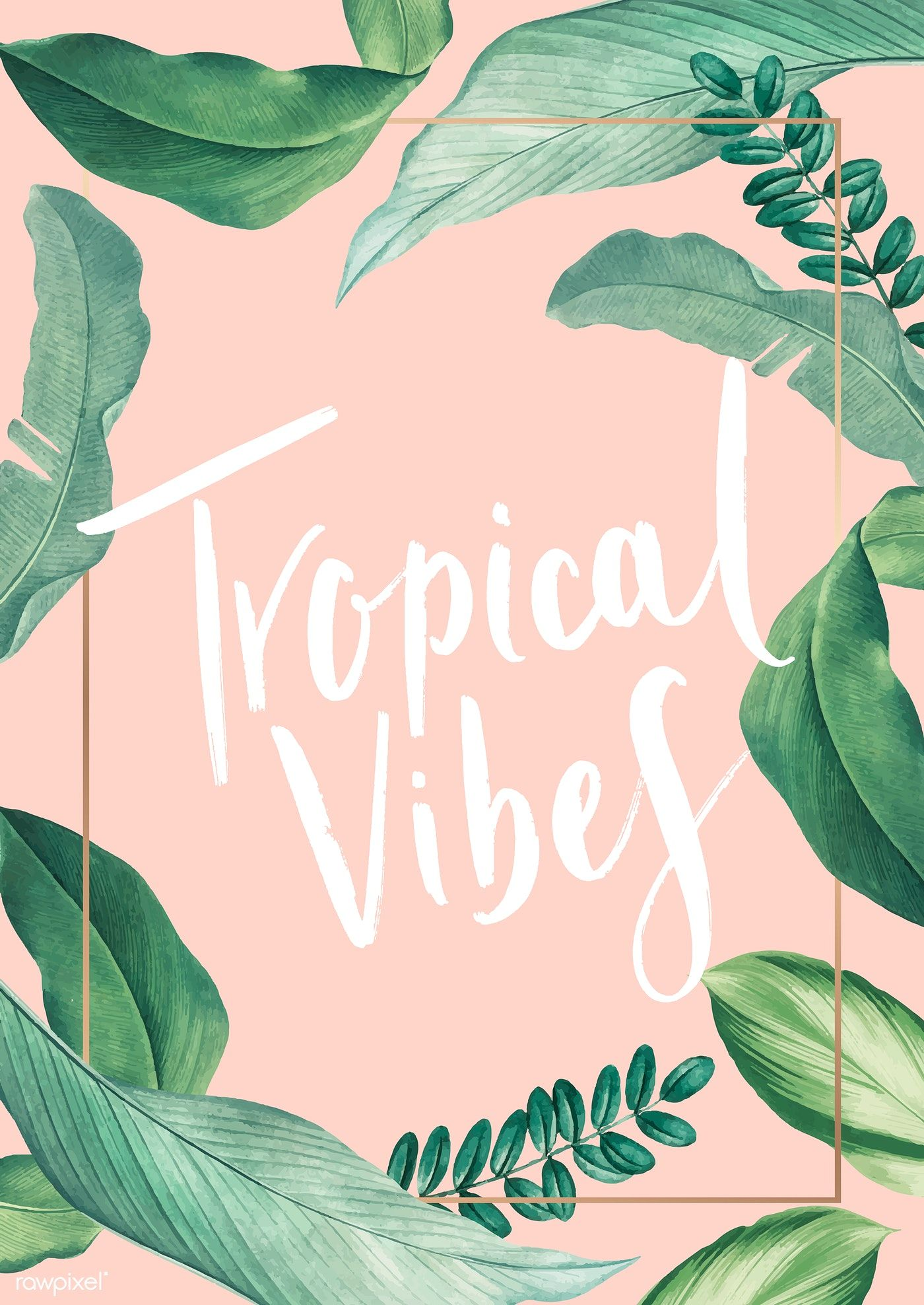 Hand Drawn Tropical Vibes Pastel Pink Poster Vector Premium Image By Rawpixel Com Pink Posters Pastel Poster Tropical Poster