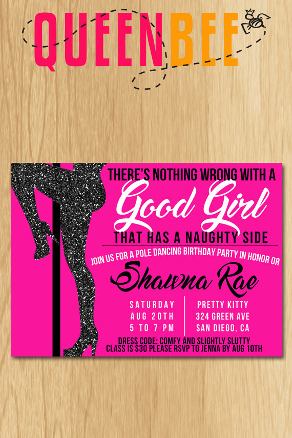 Pole Dancing Birthday Party Invite with FREE Game Card- Digital File ...