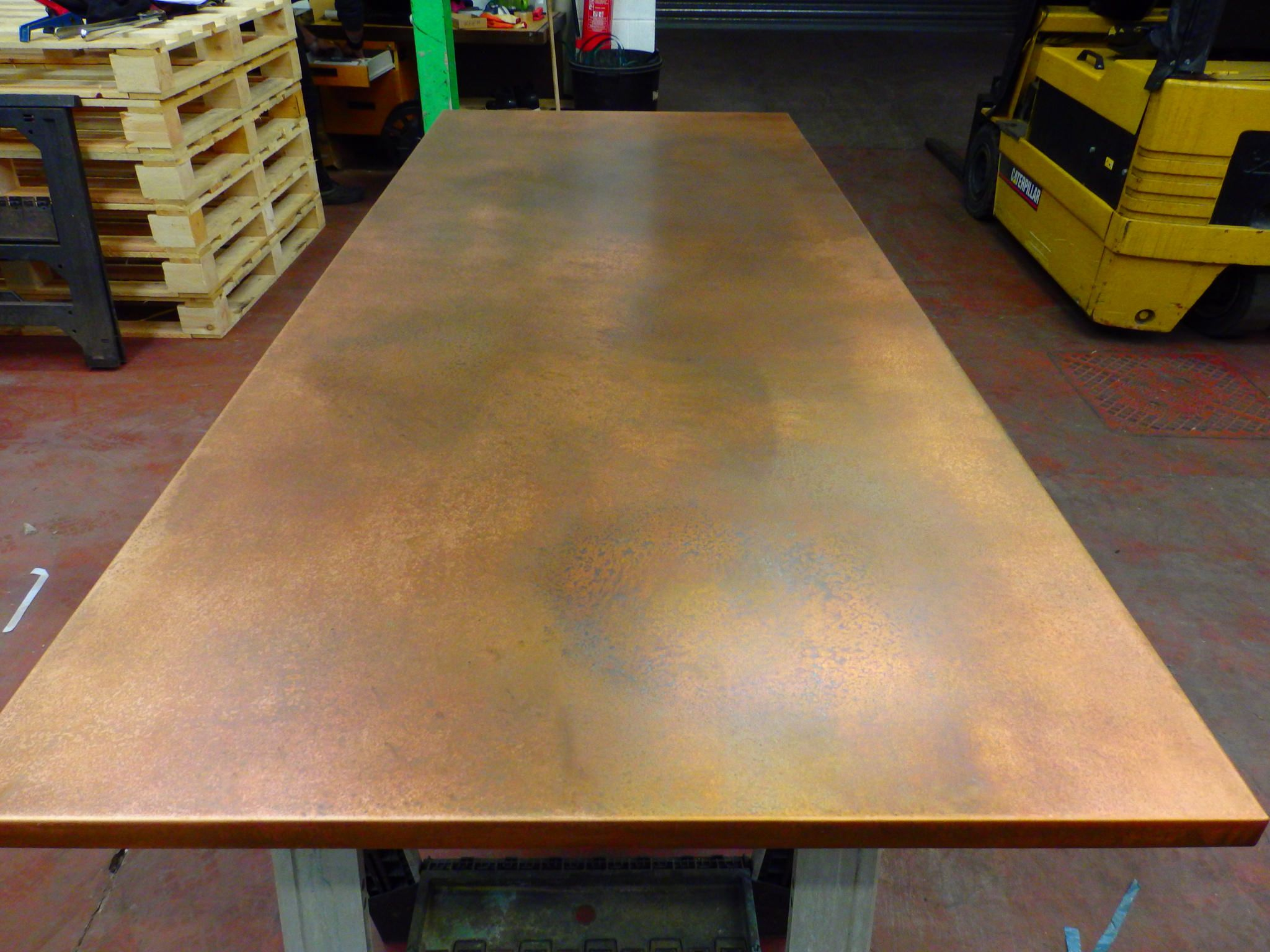 78 Bronzed Copper Top 2 Zinc Dining Tables Brass Dining Table
