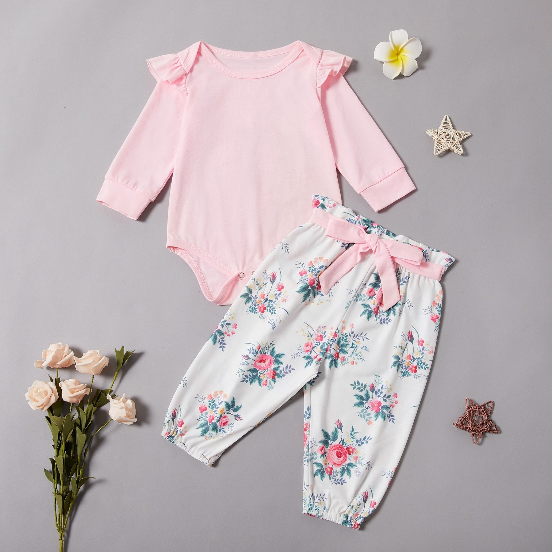 Infant Baby Girl Short Sleeve Solid T-shirt+Floral Print Long Pants+Headband Set