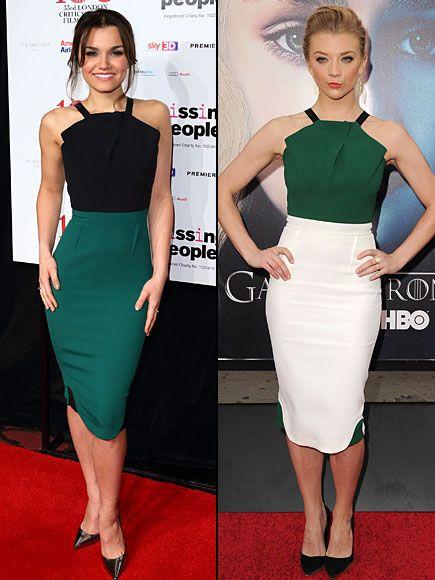 SAMANTHA VS. NATALIE    ¡Este vestido de la colección Primavera 2013 de Roland Mouret está divino! La actriz y cantante británica Samantha Barks y la actriz Natalie Dormer, de la serie Game of Thrones (HBO), lo lucieron en diferentes combinaciones de colores y, afortunadamente, en eventos diferentes.