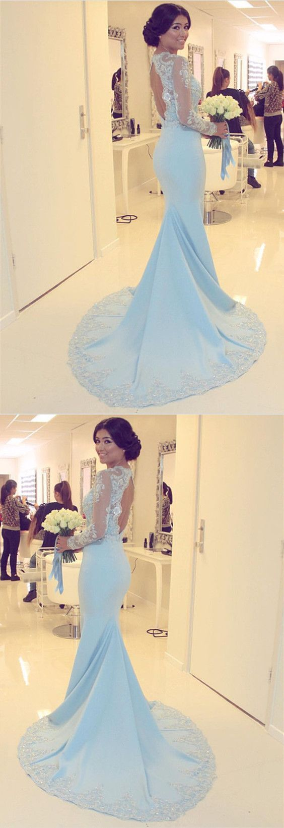 Light blue prom dress sexy full sleeve evening dress mermaid prom