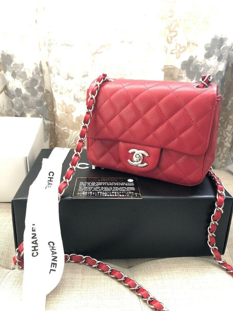 8b81fb460504 Rare Chanel Lipstick Red Caviar Square Mini GHW Bag Purse Flap 100%  Authentic