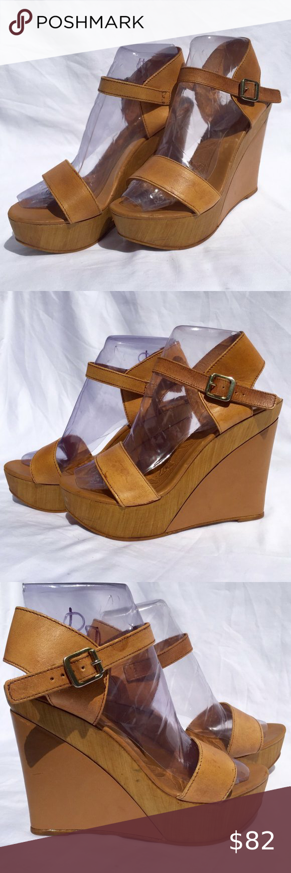 Kurt Geiger  KURT GEIGER Carvela Wedge Sandals SZ. KURT GEIGER Carvela wedge sandals in a tan leather with ankle strap buckle closure, 5 inch heel. SZ. 8 *Note one shoe seems a tad darker to me on the foot strap ??? Kurt Geiger Shoes Wedges