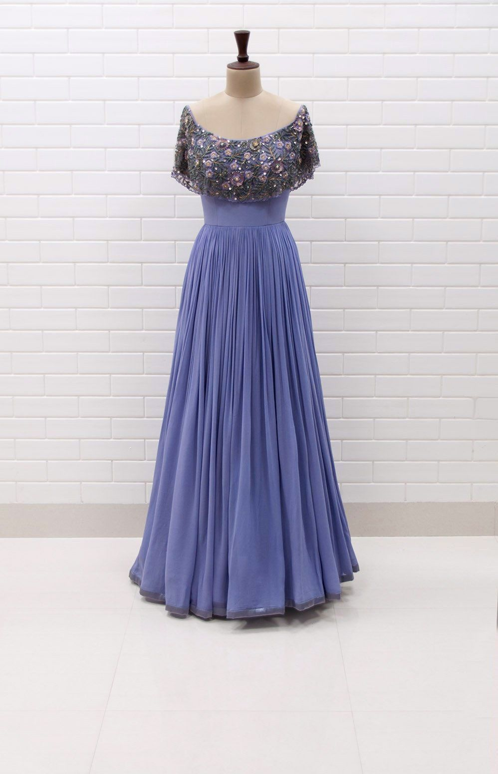eabf0fb6c1d9 SAVIA   Off shoulder pleated gown with Floral Sequins and Beads embroidered  flaired collar