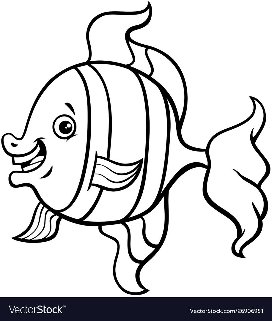 Tropical fish cartoon coloring page Royalty Free Vector