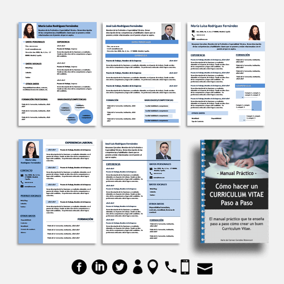 Pack de 5 Plantillas de Curriculum Vitae en Word, Photoshop y Power ...