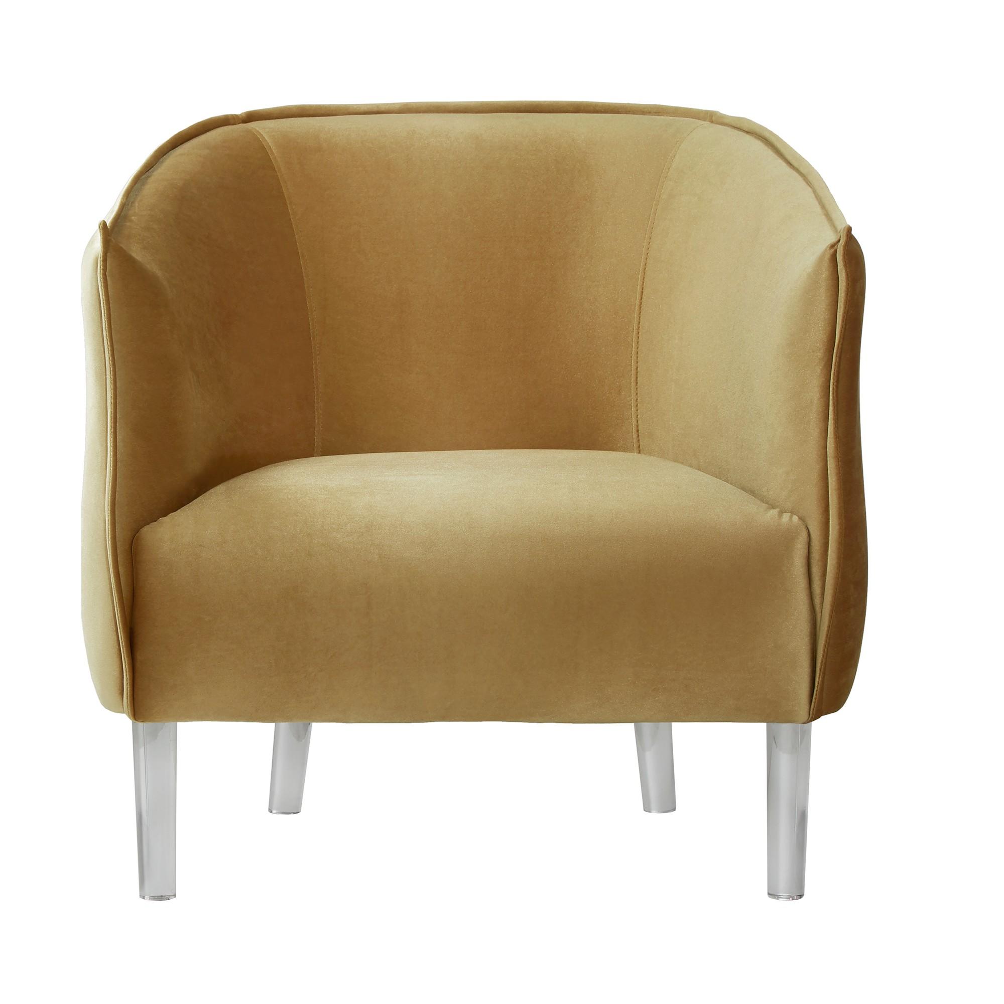 Best Marilyn Glam Velvet Acylic Barrel Accent Chair Gold 400 x 300