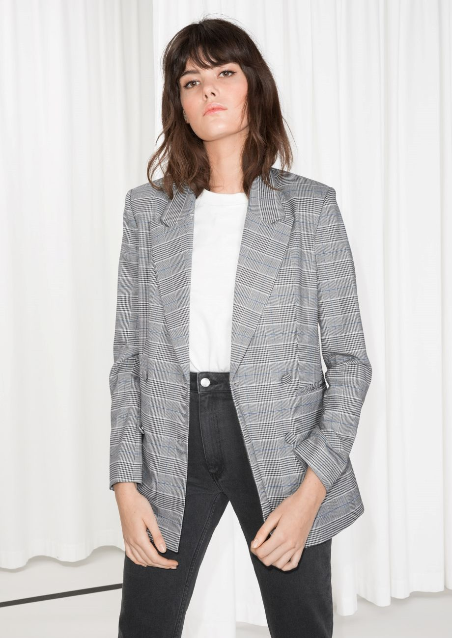 1e1bd51d1d59 Other Stories image 1 of Oversized Double Breasted Blazer in Grey Plaid